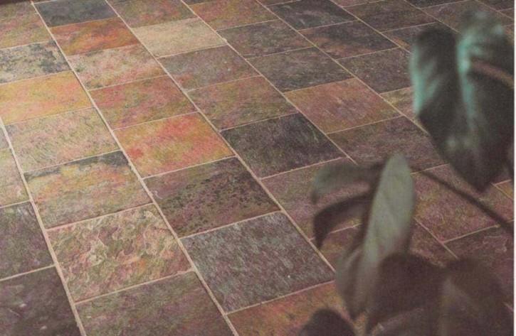 Indischer Schiefer Buntschiefer 40 x 40 x 1,1 - 1,3 cm kalibriert, Oberfläche spaltrau