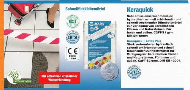 Verlegemörtel Keraquick WEISS, 23 kg Sack, Schnellflexklebemörtel, Kleber