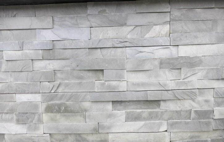 Naturstein Riemchen / Naturstein Verblender grau - grün hell Wandverblender