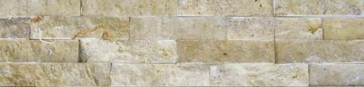 Naturstein Riemchen Verblender creme-beige dunkel, Typ Travertin Wandverblender Version A S-0508C/A