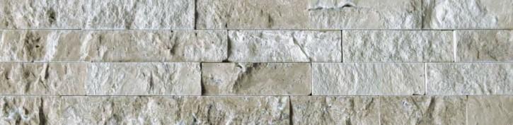 Naturstein Riemchen Verblender creme-beige dunkel, Typ Travertin Wandverblender Version B S-0508C/B