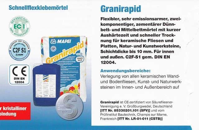 Verlegemörtel Granirapid Schnellflexklebemörtel 2 Komponenten
