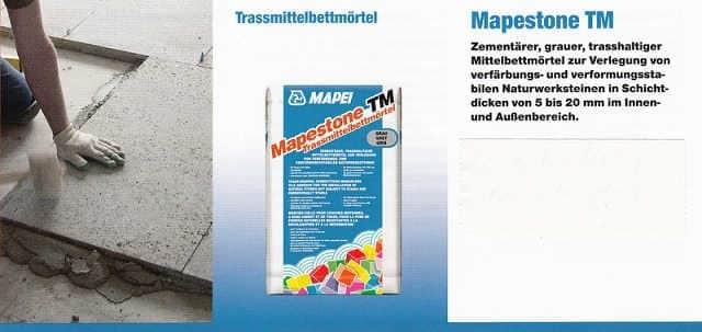 Verlegemörtel Mapestone TM Trassmittelbettmörtel Mapei, Kleber