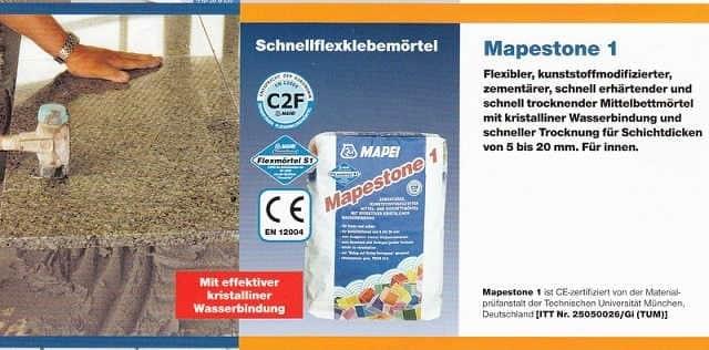 Verlegemörtel Mapestone 1, GRAU, Schnellflexklebemörtel, Kleber