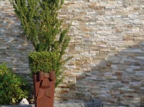 Naturstein Riemchen / Verblender braun - beige Mauerverblender, Wandverblender