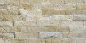 Naturstein Riemchen Verblender creme-beige dunkel, Typ Travertin Wandverblender Version A