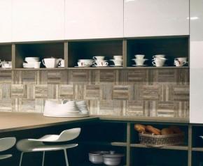 Riemchen-Mosaik, Stabmosaik Fliese Holzdesign 20 x 20 cm Keramik Farbe: Color